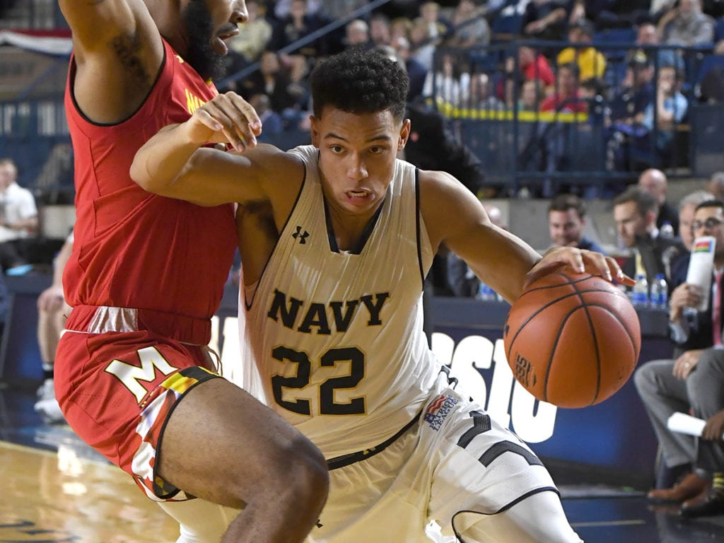 Navy Basketball guard Cam Davis is one the keys to the Mids' attack.