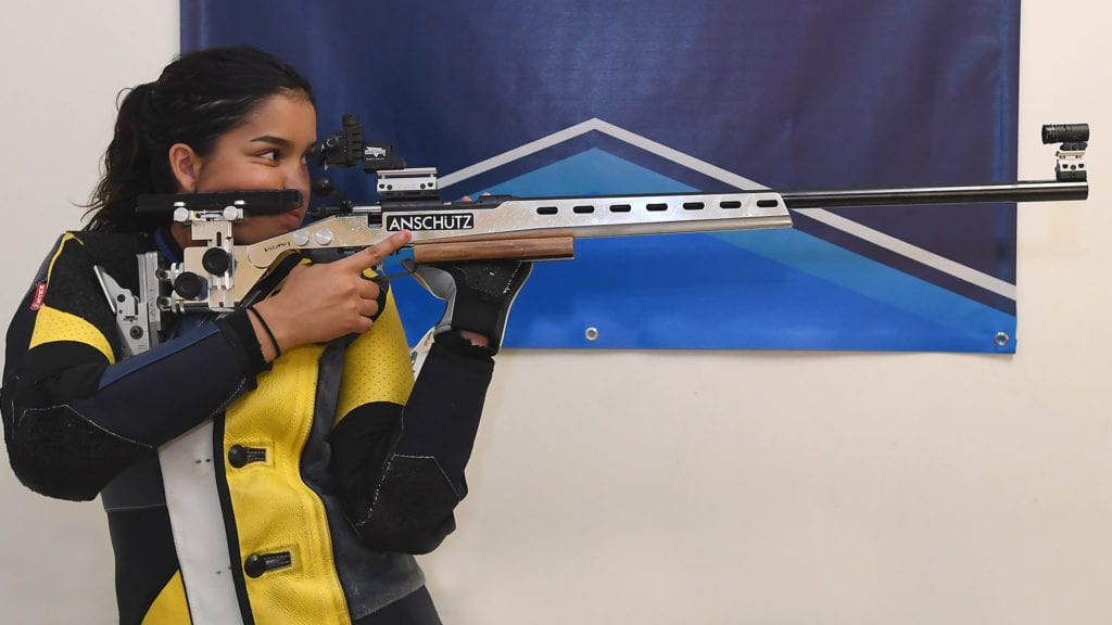 Gabriella Mayes set a new Navy Rifle team record in the air rifle event.