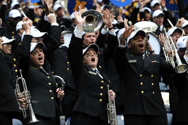 Navy Midshipmen celebrate another score at the 2009 Texas Bowl