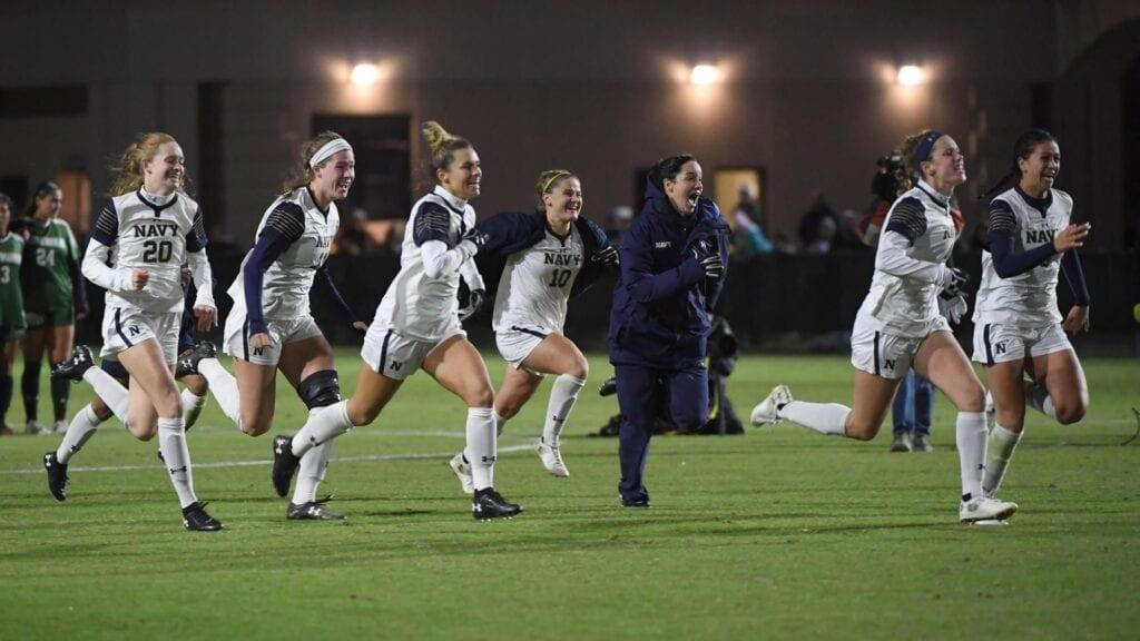 Navy Women's Soccer post game sprint.