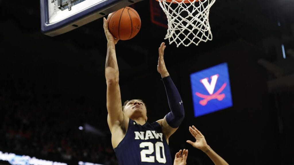 Navy forward Greg Summers is among the team leaders in offensive rebounds