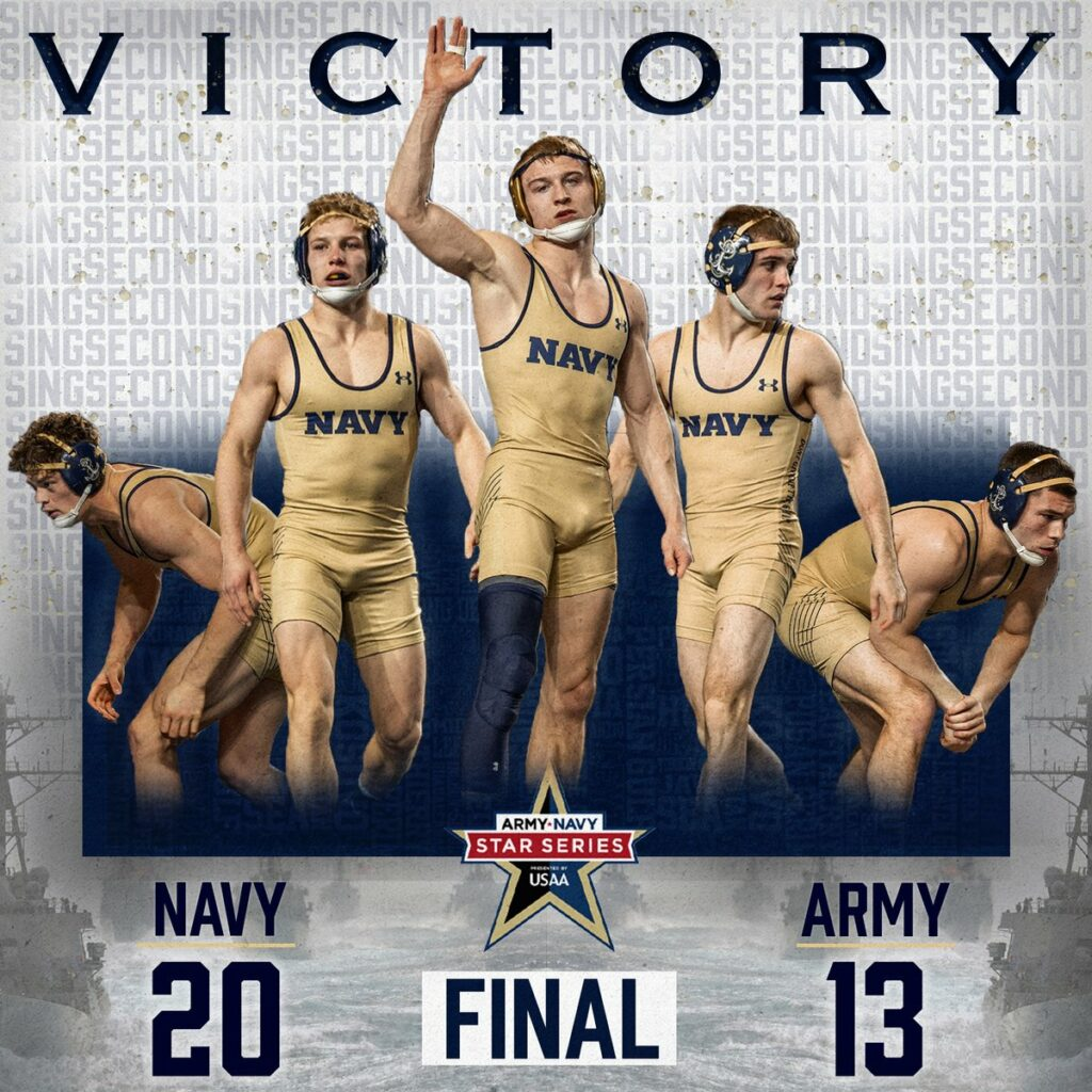 Navy Wrestling team has a 50-10-5 record in the Army-Navy Sports Series